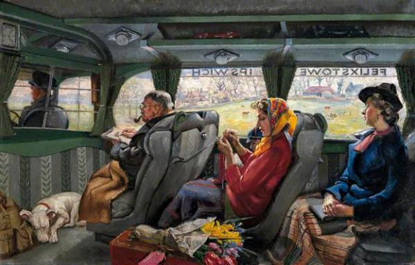 "Interior of an English ""coach"", a luxury bus between cities in the mid 20th century. 3 rows of seats, each with a passenger. In the middle row, a woman wearing a head scarf is knitting away."